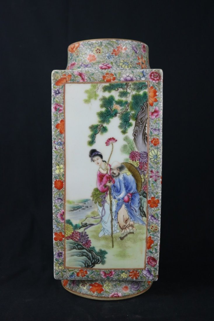 Chinese Polychrome Enamel Gourd Porcelain Vase
