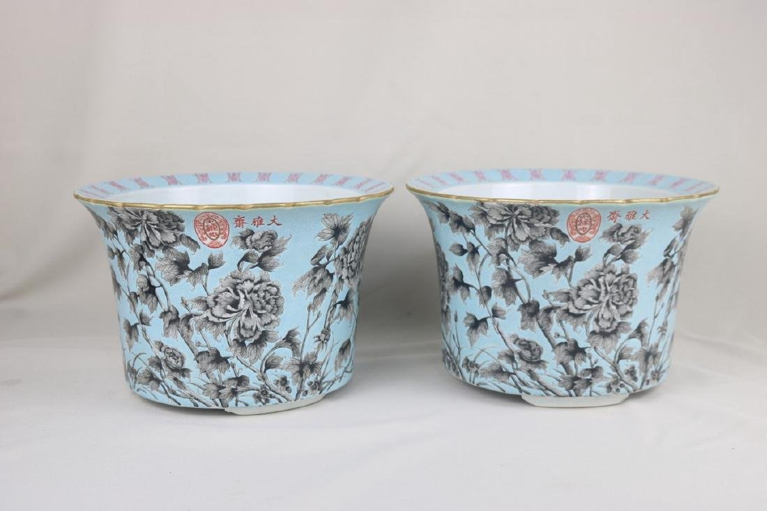 A Pair Of Blue Ground and Grisaille Painting Flower Pot