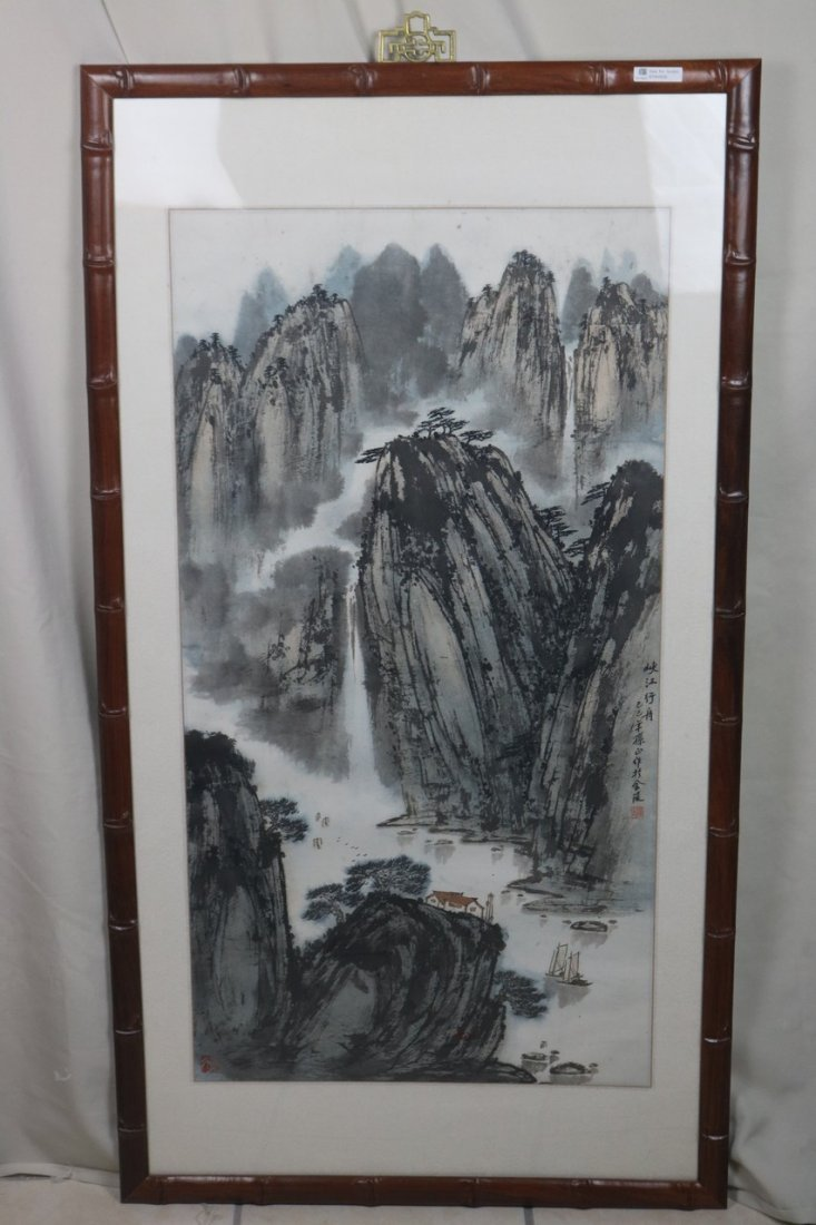 Chinese WC Painting With Rosewood Frame