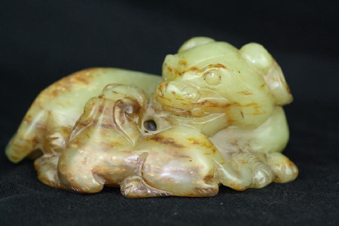 Chinese Carved Jade Double Lions