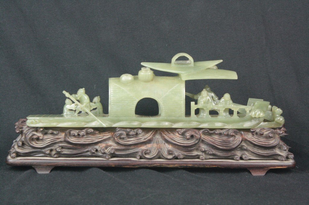 Chinese Jade Carved Boat