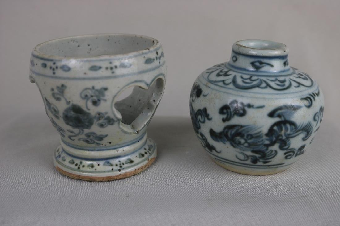 Chinese Blue and White Porcelain Wax holder and Vase