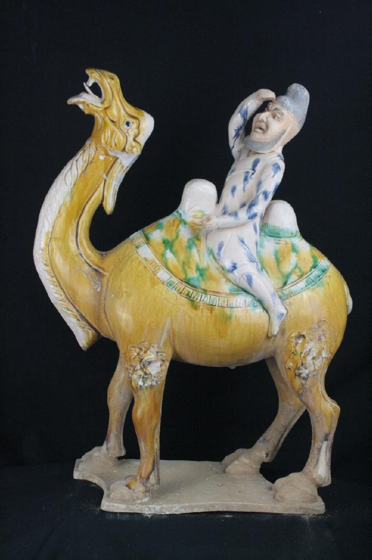 Chinese Tang Dynasty Style Porcelain Camel Statue