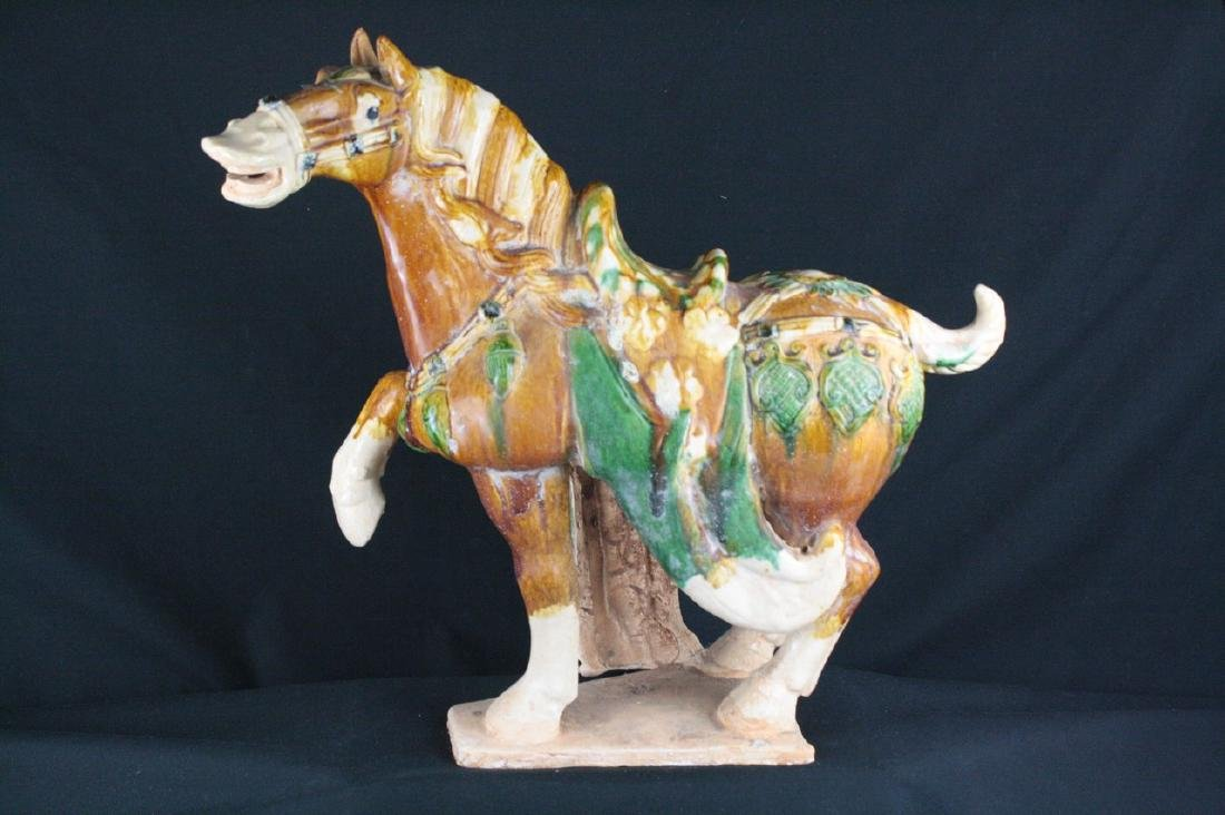 Tang Dynasty Style Tri-Colour Porcelain Horse Statue