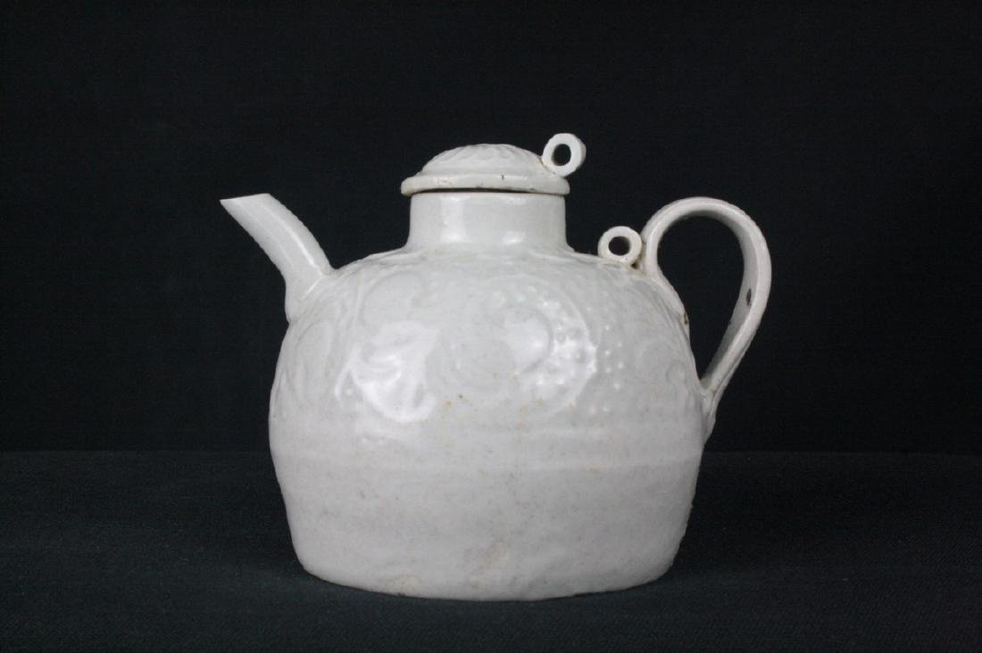Chinese White Glazed Porcelain Flagon