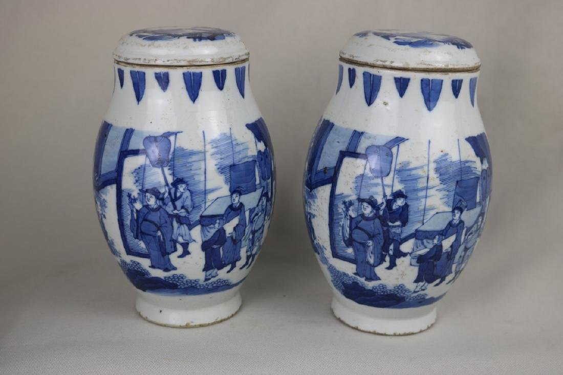 A Pair of Chinese Blue and White Porcelain Jar