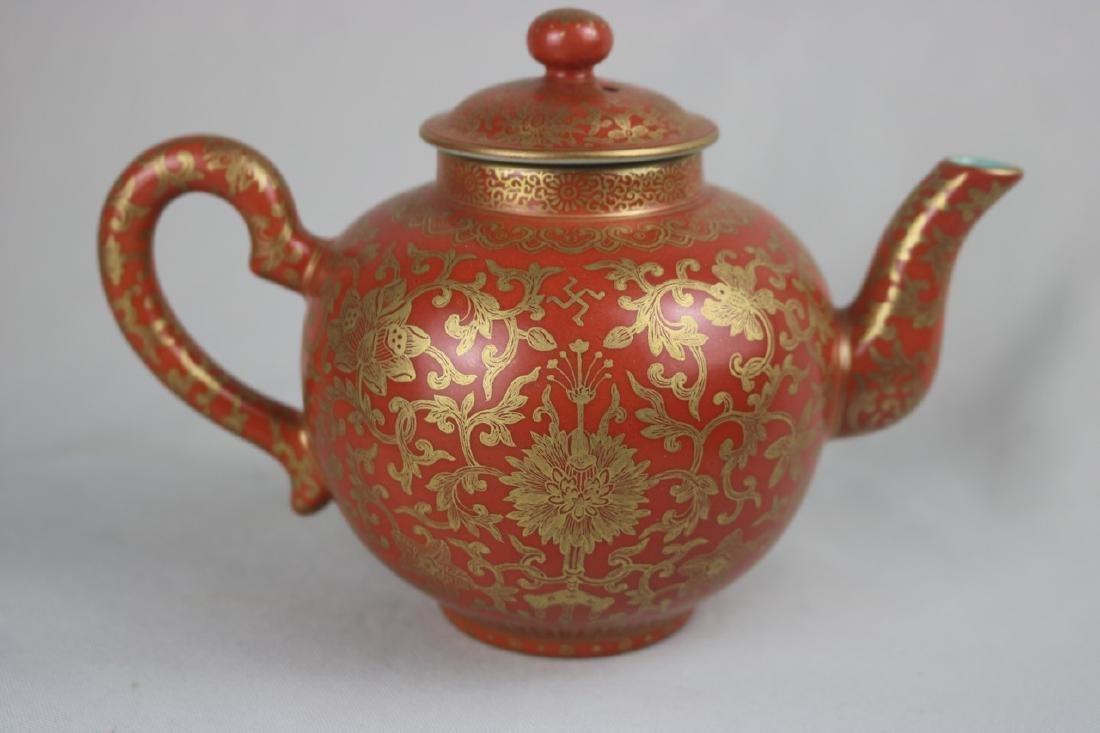 Chinese Copper Red Porcelain Teapot
