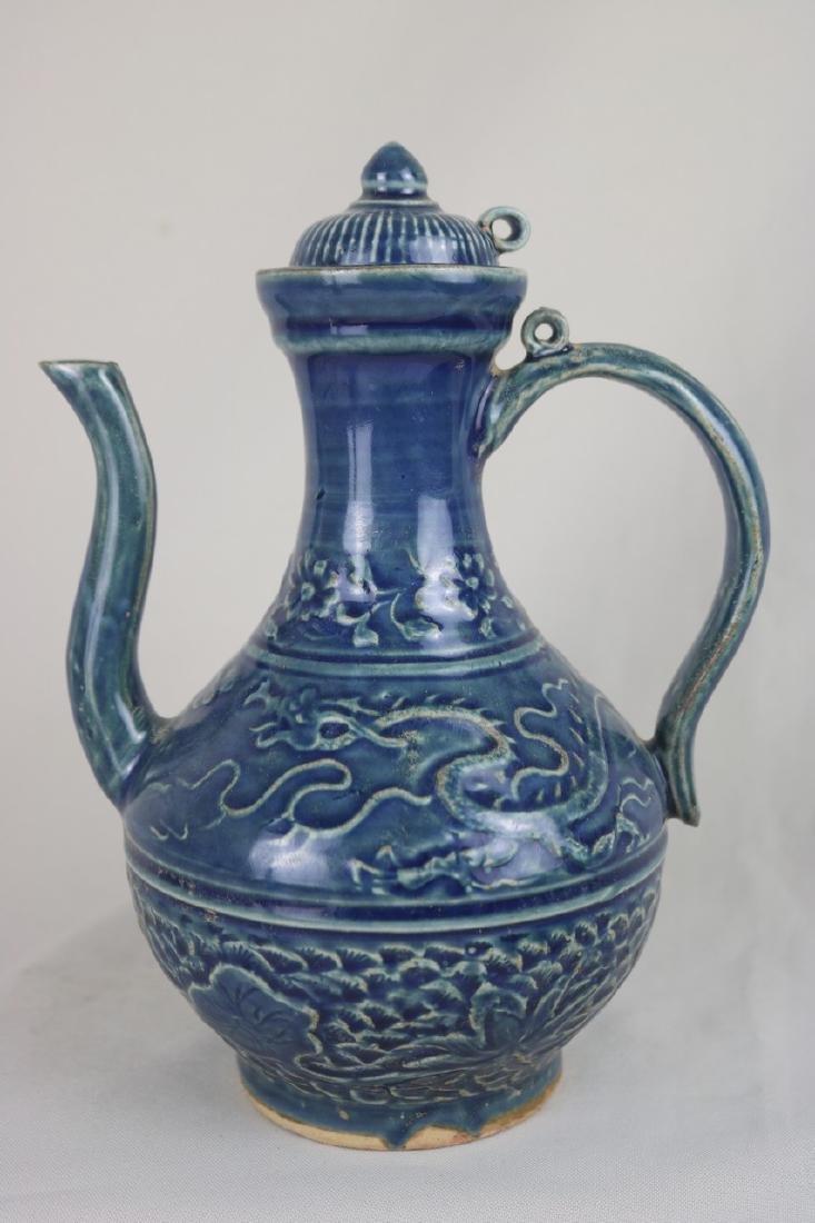 Chinese Blue Glazed Porcelain Ewer
