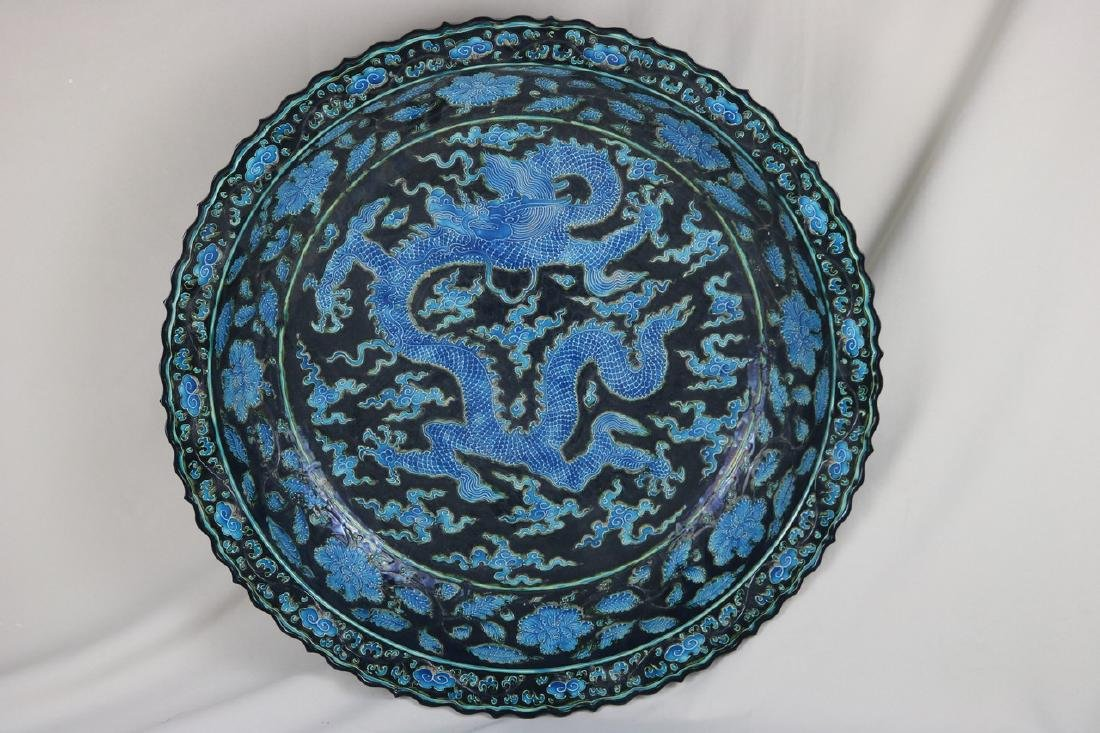 Chinese Blue and Black Porcelain Charger