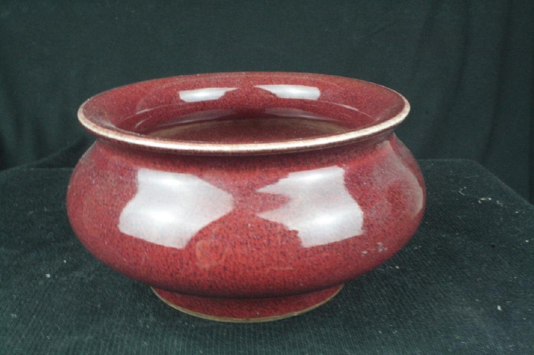 Chinese Red Glazed Porcelain Brush washer