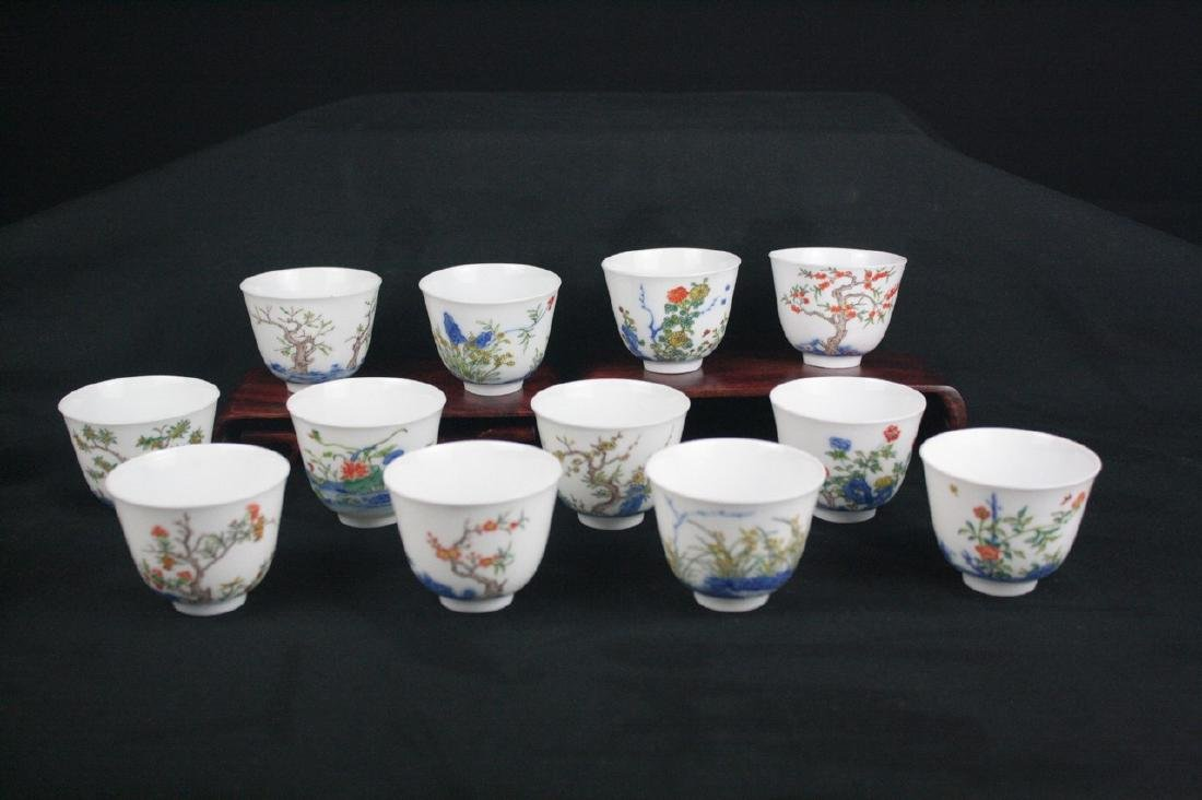 Chinese Set of Famille Rose Porcelain Cup