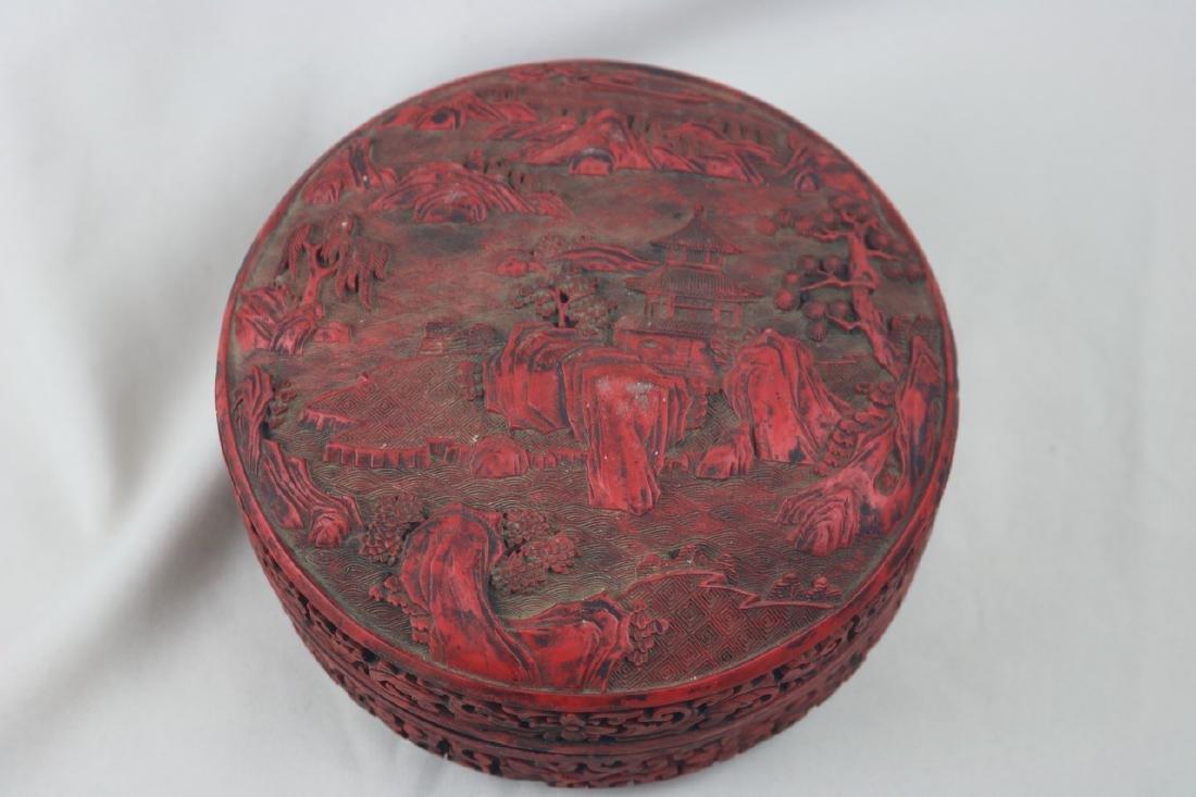 Chinese Lacquer Box and Jade Thumb Ring