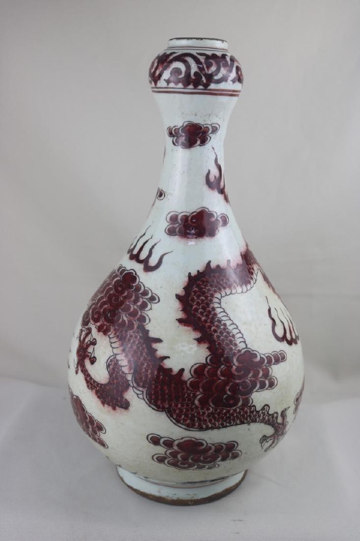 Chinese Copper Red Garlic Head Vase - 2