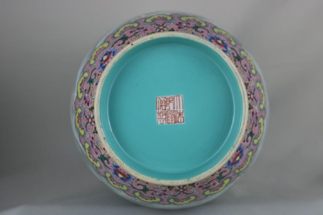 Chinese Famille Rose Porcelain Vase - 9