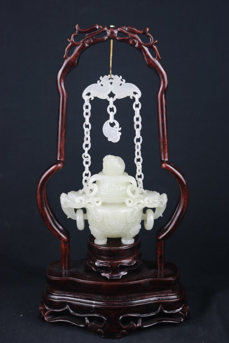 Chinese White Jade  Censer - 3