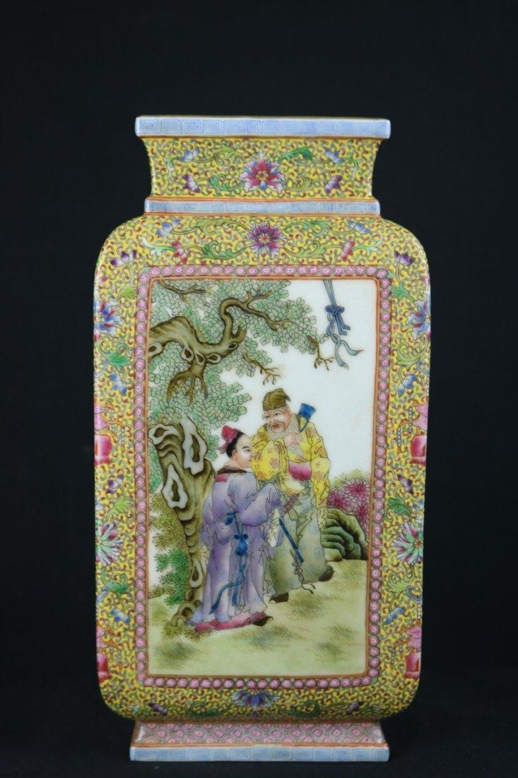 Chinese Polychrome Enamel Porcelain Vase - 2
