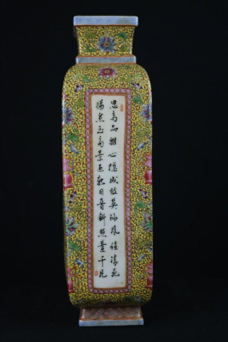Chinese Polychrome Enamel Porcelain Vase - 3