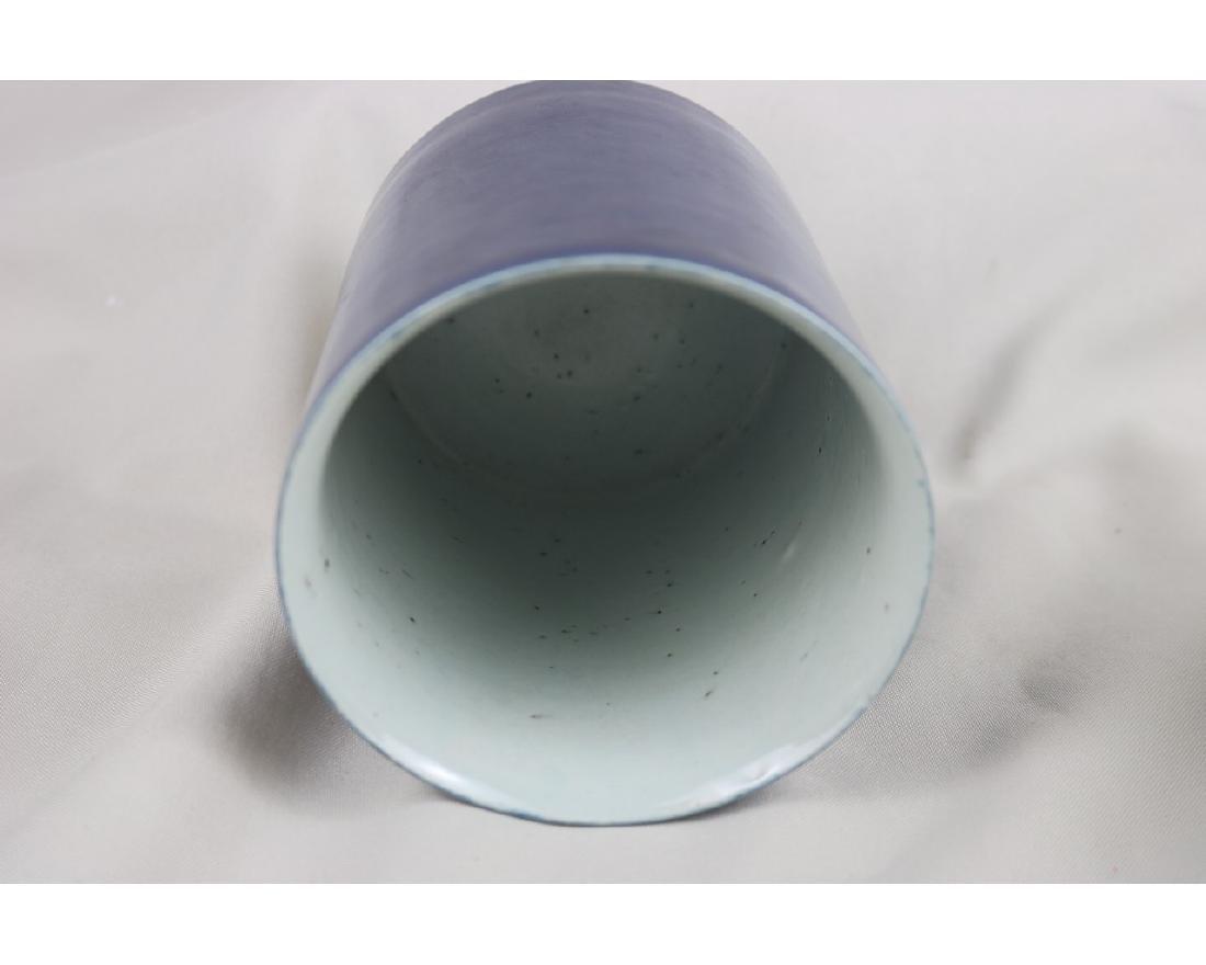 Chinese Blue Glazed Porcelain Brush Pot - 2