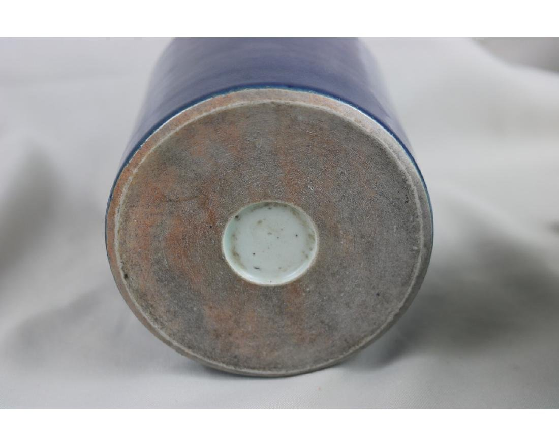 Chinese Blue Glazed Porcelain Brush Pot - 3