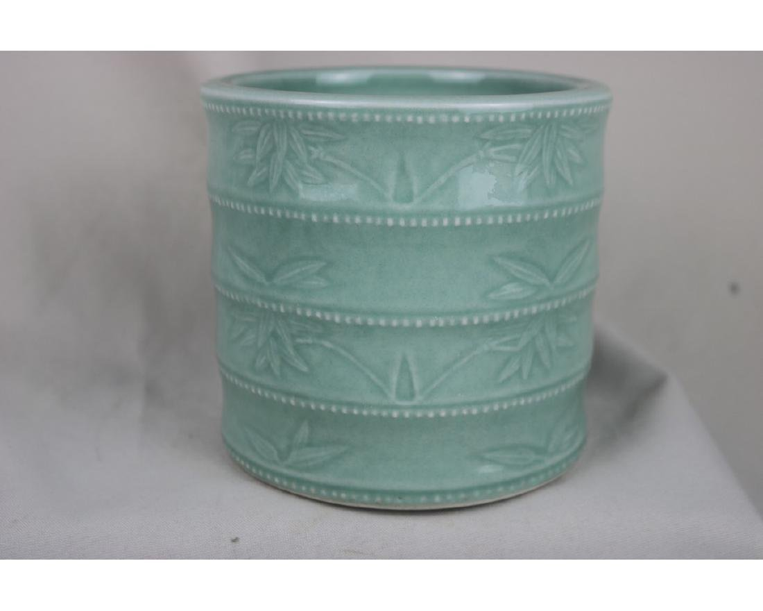 Chinese Celadon Glazed Porcelain Brush Pot