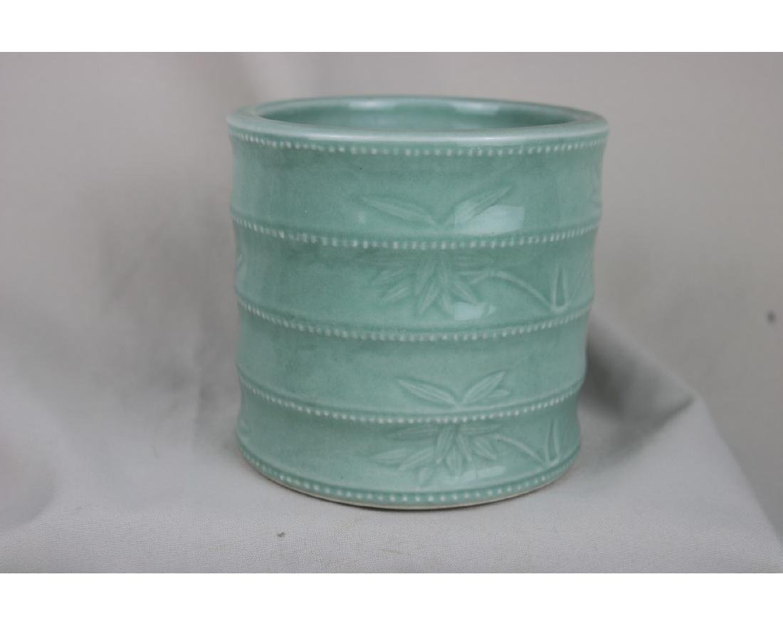 Chinese Celadon Glazed Porcelain Brush Pot - 2