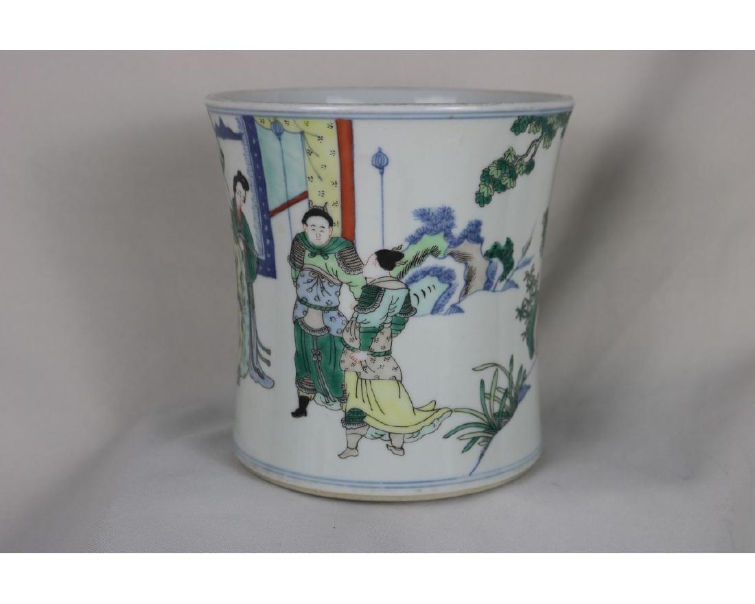 Chinese Wucai Porcelain Brush Pot - 3