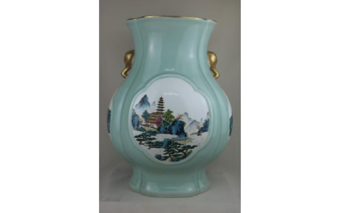 Chinese  Celadon Glazed and Famille Rose  Vase