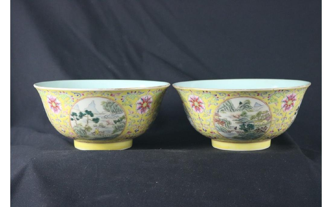 Pair of  Yellow Ground Famille Rose  Bowl