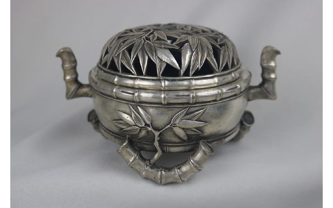 Chinese Silver Tripod Censer