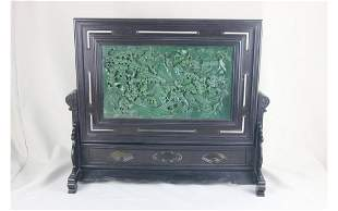 Chinese Green Jade Table Screen