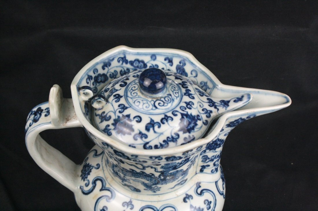 Chinese Blue and White Porcelain Ewer - 4