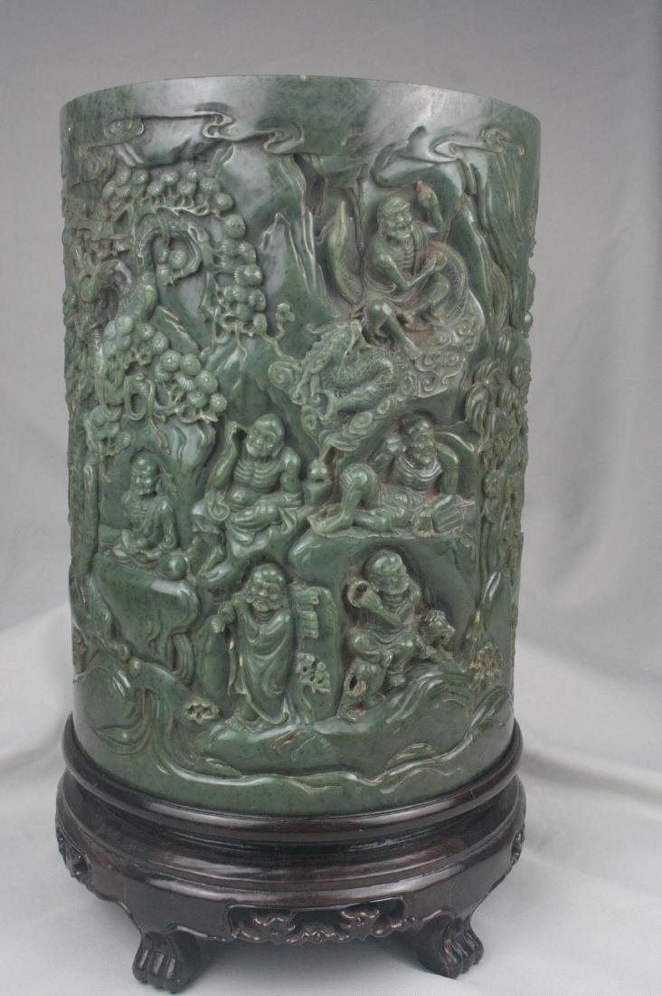 Chinese Green Jade Brush Pot