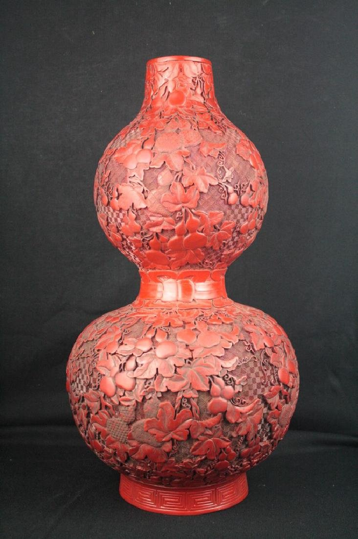 Chinese Lacquer Double Gourd Vase