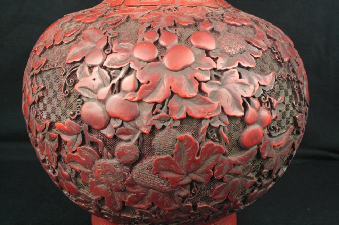 Chinese Lacquer Double Gourd Vase - 3