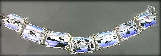 360236: Scandinavian Enamel Scenic Links Bracelet