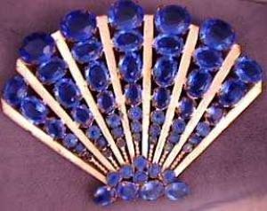 360238: Vintage Jewelry: Fabulous Large Blue Stone Fan