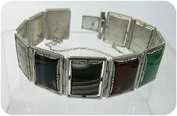 360241: Silver Geometric  Art Deco Style Gemstone Brace