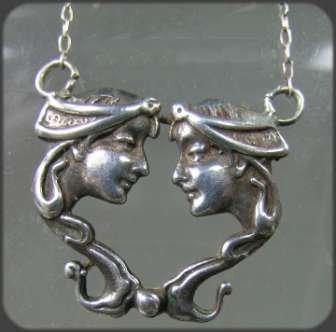 360246: Cast Silver Art Nouveau Women Pendant Necklace