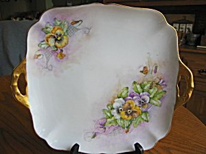363492: Hutschenreuther Hand Painted Pansies Tray