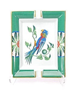363535: Hermés Ashtray Blue and Green Parrot ~ MIB