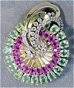 365285: Vintage Large Mazer Art Deco Pink & Green Stone