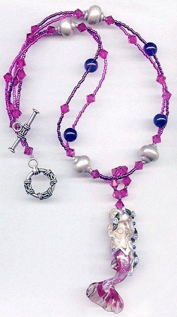 365288: New Pink Mermaid Lampwork and Crystal Silver Ne