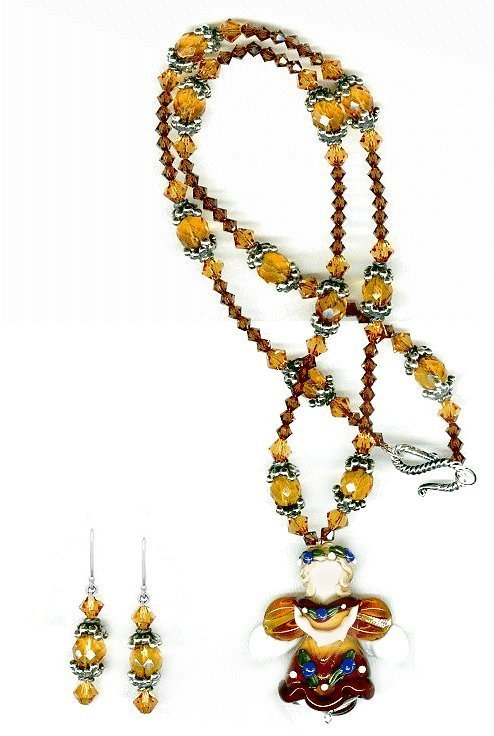 365289: Autumn Angel Lampwork and Crystal Silver Neckla