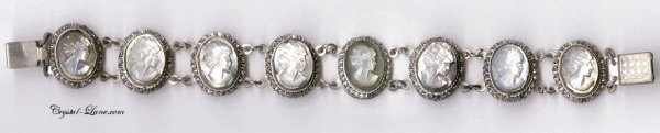 365291: Antique Mother Of Pearl Silver Cameo Bracelet