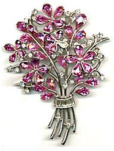 365292: Vintage Large Trifari Pink Stone Flower Pin