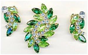 365295: Vintage Green & Blue Rhinestone Brooch & Earrin