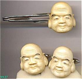 365351: Ivory Buddah Face Cuff Link and Tie Bar Set
