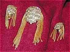 365967: HOBE Pave Rhinestones Brooch Pin n Earrings