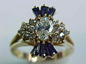 367642: Ladies' Oval Diamond and Sapphire Ring