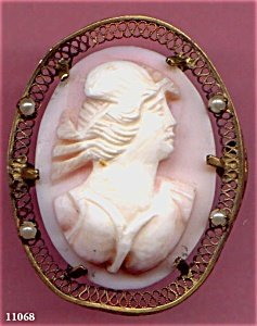 368015: Cameo of Pink Hand Carved Shell w 4 Pearls
